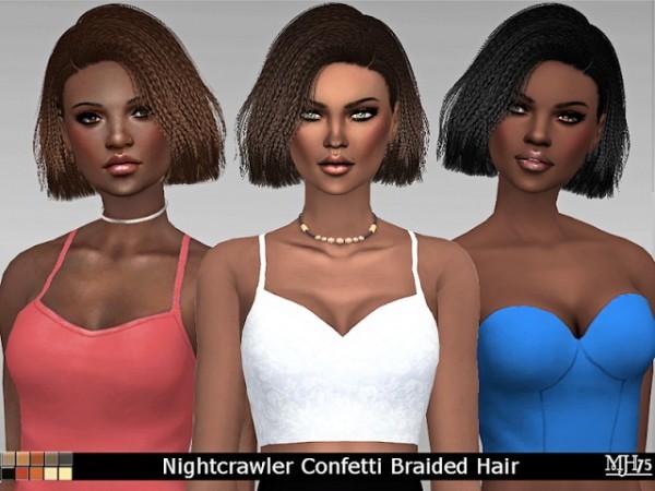 Sims Addiction: Nightcrawler`s Confetti Hair Braided by Margies Sims for Sims 4