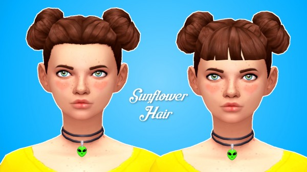 Butterscotchsims: Sunflower Hair for Sims 4