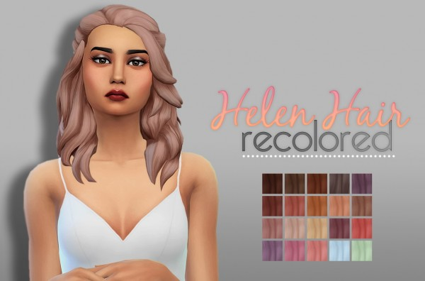 Whoohoosimblr: Helen Hair recolored for Sims 4