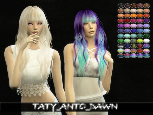 Simsworkshop: Anto`s Dawn Hair retextured by Taty for Sims 4