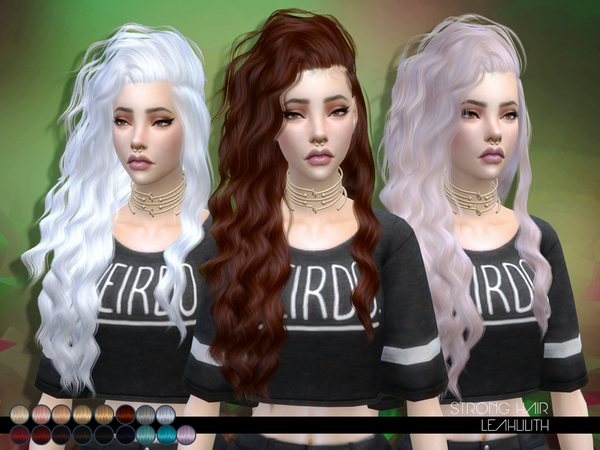 The Sims Resource: Strong Hair by LeahLillith for Sims 4
