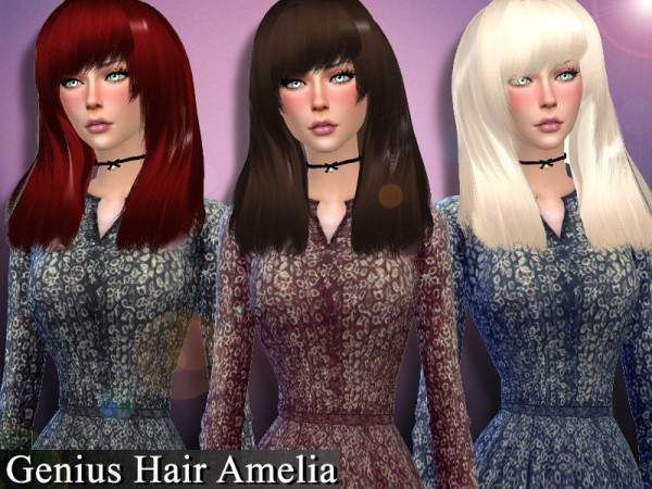 The Sims Resource: Hair Amelia retextured by Genius666 for Sims 4
