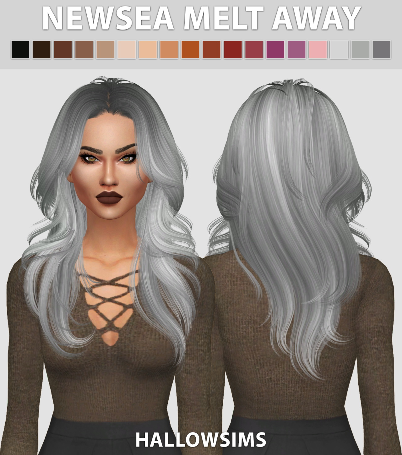 Sims 4 Hairstyles: Hallow Sims: Newsea`s Melt Away Hair Retextured