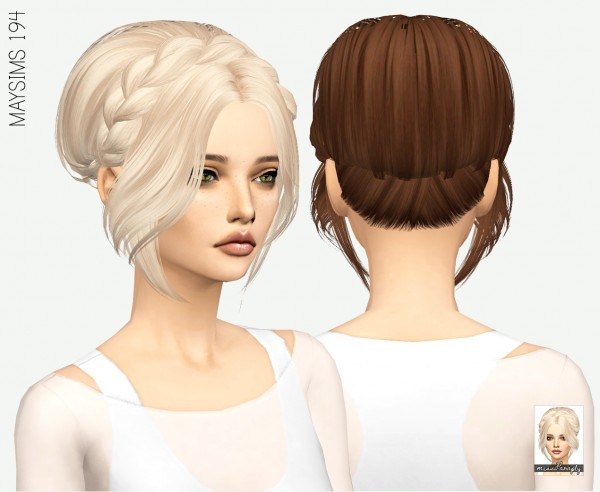 Miss Paraply: MAYSims 194 hair retextured for Sims 4
