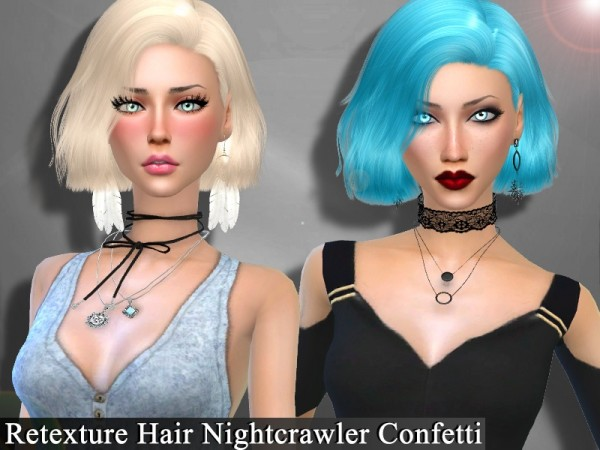 The Sims Resource: Nightcrawler`s Confetti hair retextured by Genius666 for Sims 4
