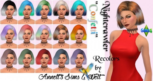 Annett`s Sims 4 Welt: Nightcrawler`s Hair Confetti Recolors for Sims 4