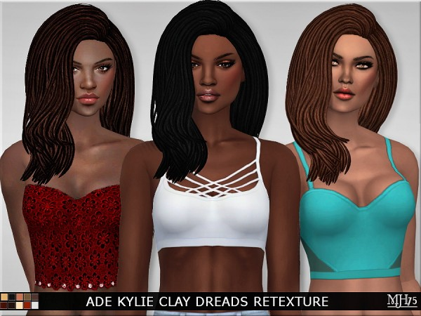 Sims Addiction: Ade Kylie Clay Dreads hair retextured by Margies Sims for Sims 4
