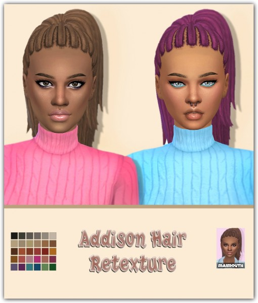 Simsworkshop: Addison Hair Retextured by maimouth for Sims 4