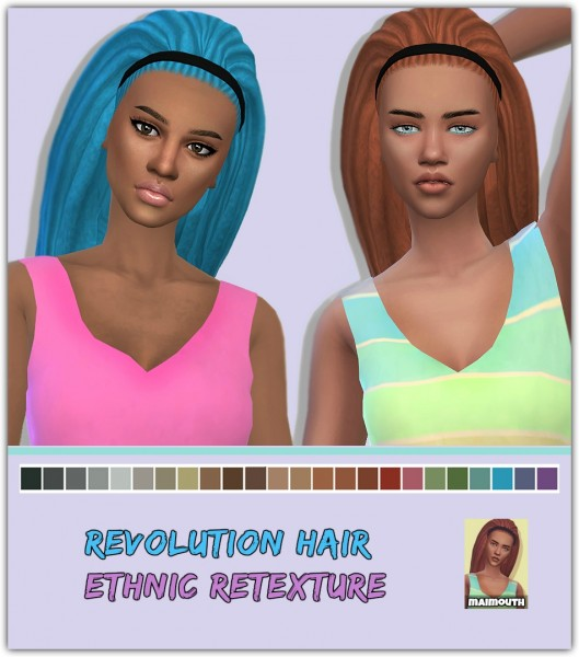 Simsworkshop: Revolution Ethnic hair retextured by Maimouth for Sims 4