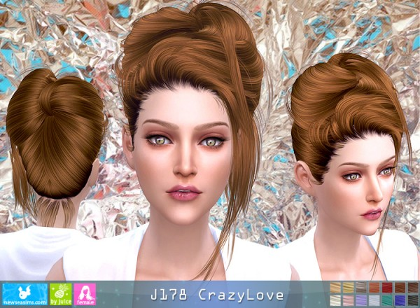 NewSea: J178 Crazy Love hair for Sims 4