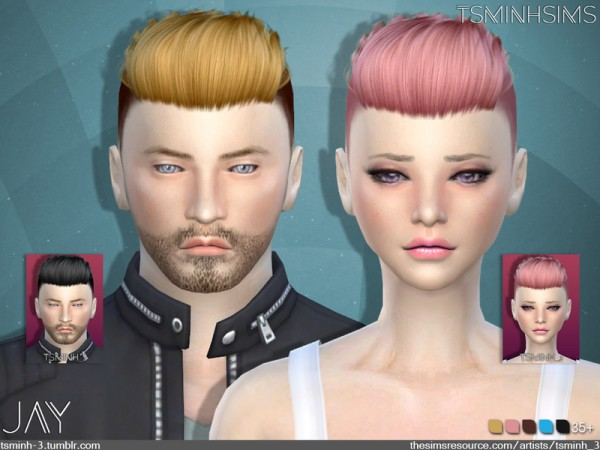 The Sims Resource: JAY    Hair 9 by TsminhSims for Sims 4