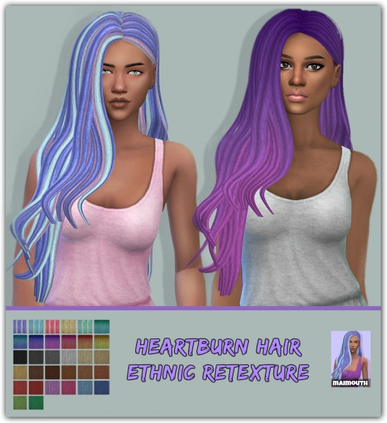 The Sims Resource: Heartburn Ethnic hair retextured by maimouth for Sims 4