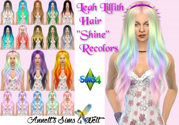 Annett`s Sims 4 Welt: Leah Lillith Hair Shine Recolored for Sims 4