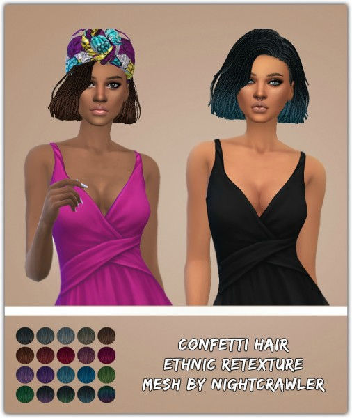 Simsworkshop: Confetti Hair Retextured by Ethnic for Sims 4