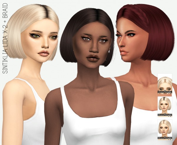 Miss Paraply: Sintiklia`s Lida hair retextured for Sims 4