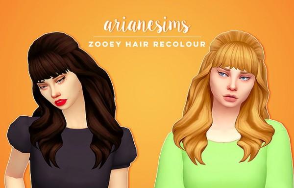 Ariane Sims: Zooey hair for Sims 4
