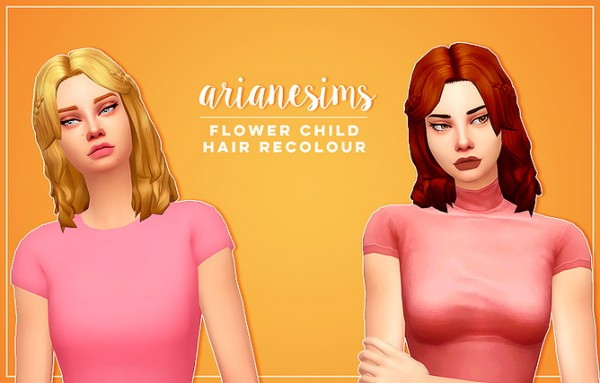 Ariane Sims: Flower child hair recolored for Sims 4