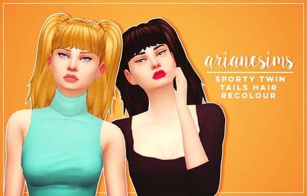 Ariane Sims: Sporty twin tails for Sims 4