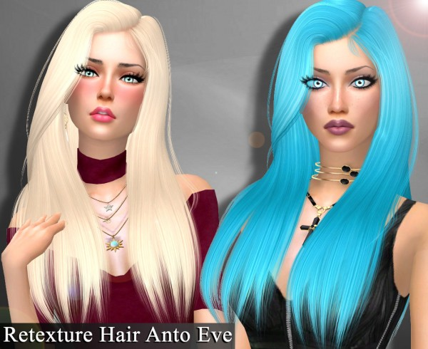 Genius6613: Anto`s Eve hair retextured for Sims 4