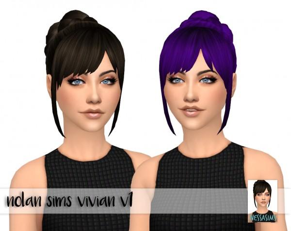 Nessa sims: Pony braid side, Nolan sims Vivian v1 and v2 for Sims 4