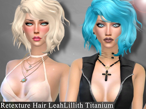 Genius6613: LeahLillith`s Titanium hair retextured for Sims 4