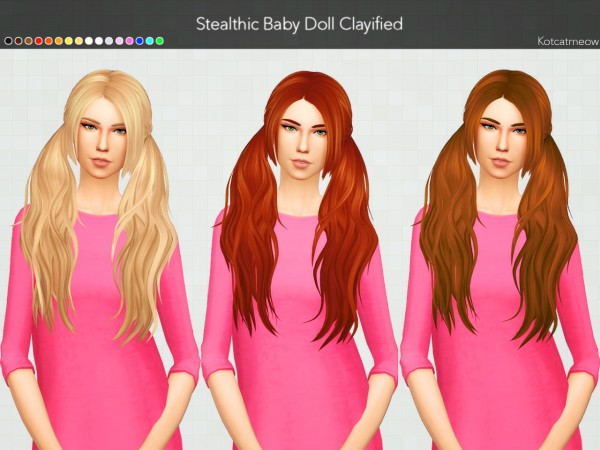 Kot Cat: Stealthic`s Baby Doll Hair Clayified for Sims 4