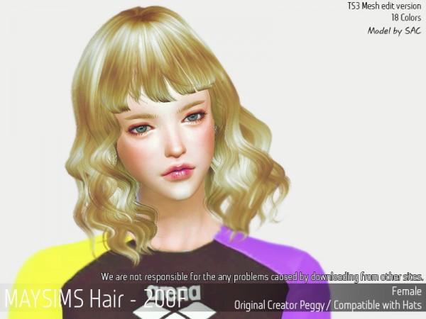 MAY Sims: May 200F hair retextured for Sims 4