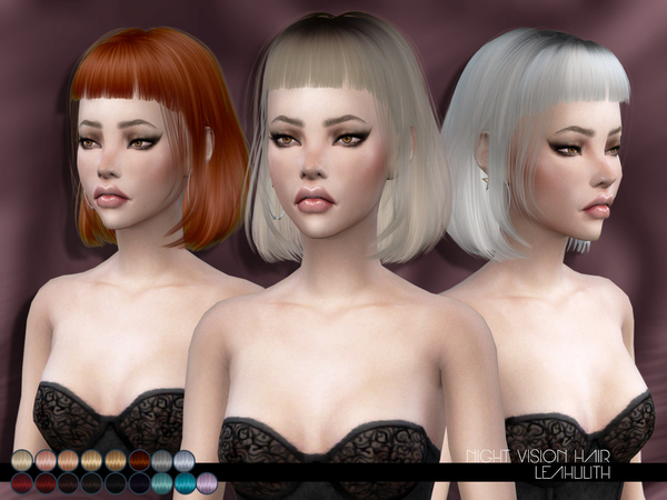 The Sims Resource: Night Vision Hair by LeahLillith for Sims 4
