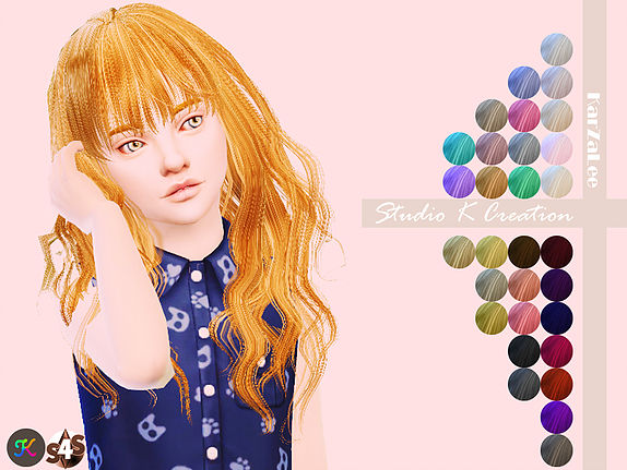 Studio K Creations: Animate hair 65   Rika  kids for Sims 4
