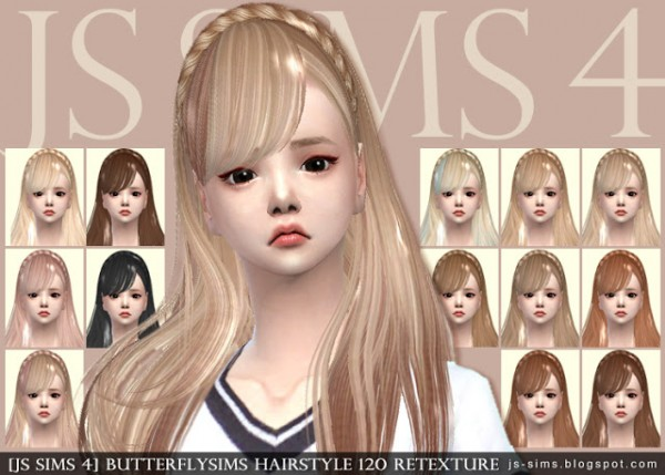 JS Sims 4: Butterfly`s 120  hair retextured for Sims 4
