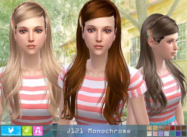 NewSea: J121 Monochrome donation hair for Sims 4
