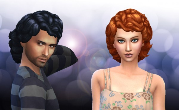 Mystufforigin: Medium Curly Version 2 for Sims 4