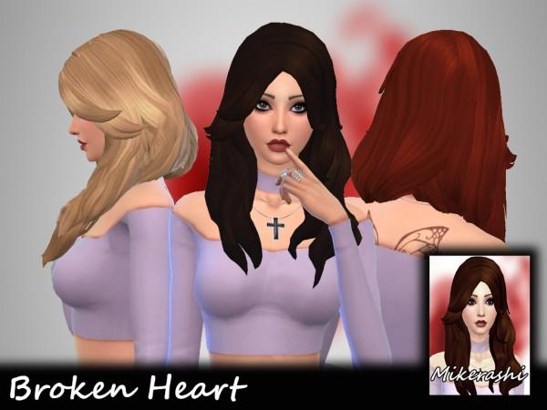 Mikerashi: Broken Heart Hair for Sims 4