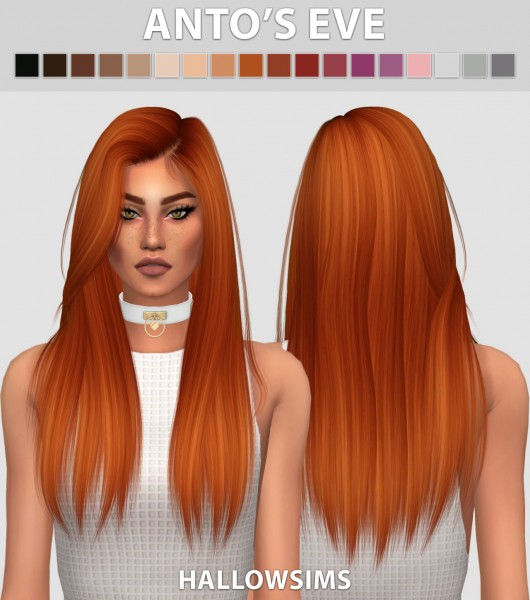 Hallow Sims: Anto`s Eve hair retextured for Sims 4