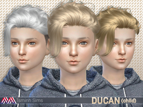 The Sims Resource: Ducan Hair 15 for boys for Sims 4