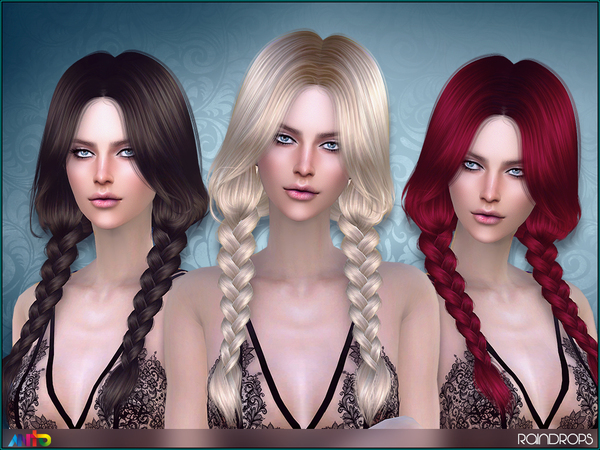 The Sims Resource: Raindrops Hair by Anto for Sims 4