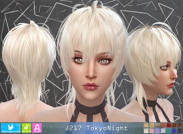 NewSea: J217 Tokyo Nighthair for her for Sims 4