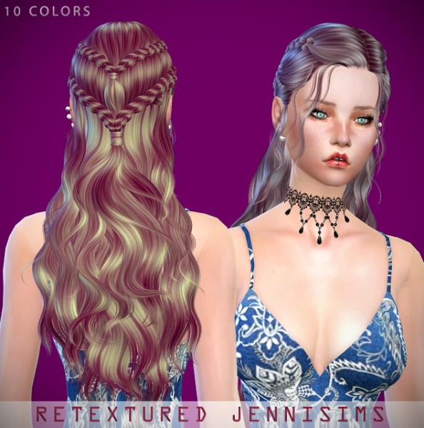 Jenni Sims: Butterfly`s 114 and Neewsea`s Dracarys Hairs retextured for Sims 4