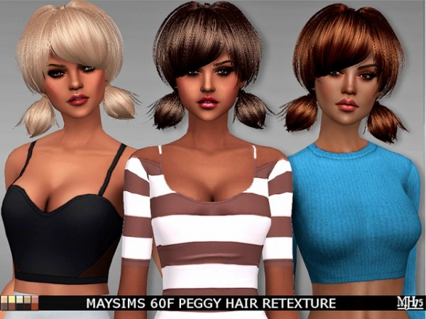Sims Addiction: May`s 60F Peggy Hair Retextured for Sims 4
