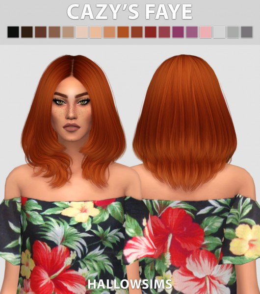 Hallow Sims: Cazy's Faye hair retextured for Sims 4