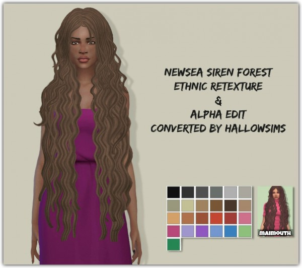 Simsworkshop: Siren Forest Hair Ethnic Retextured by maimouth for Sims 4