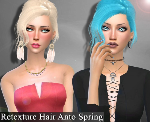 Genius6613: Anto`s Spring hair retextured for Sims 4