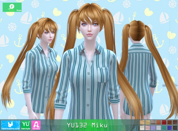NewSea: Yu132 Miku hair for Sims 4