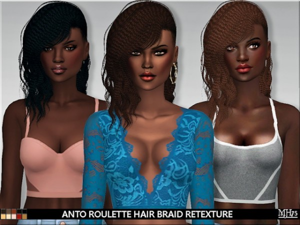 Sims Addiction: Anto`s Roulette Hair Braid Retextured by Margies Sims for Sims 4
