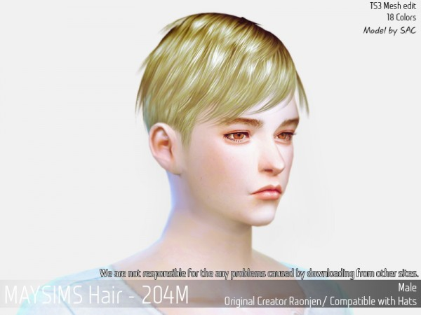 MAY Sims: May Hair 204M retextured for Sims 4