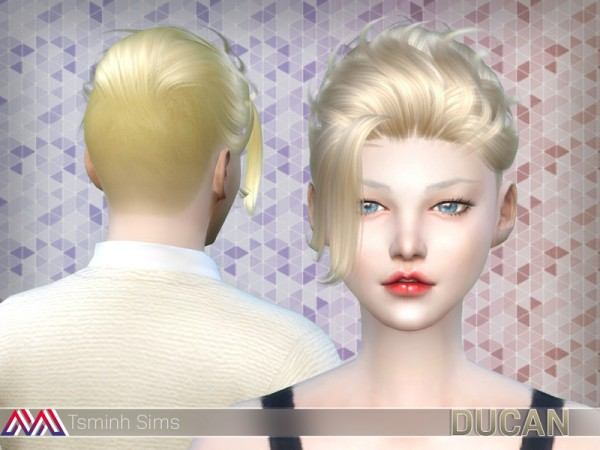 The Sims Resource: Ducan Hair 15 by TsminhSims for Sims 4