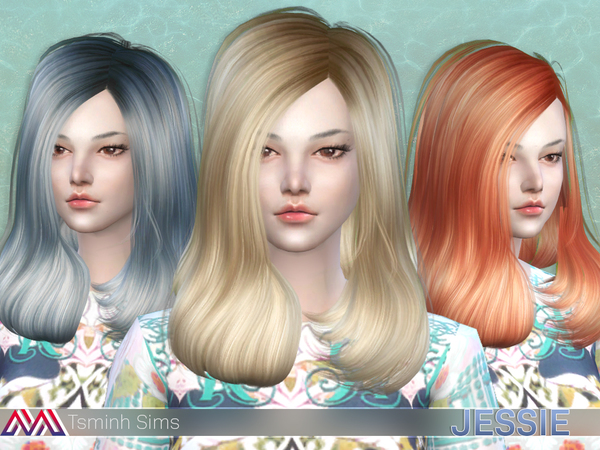 The Sims Resource: Jessie Hair 13 by tsminh 3 for Sims 4
