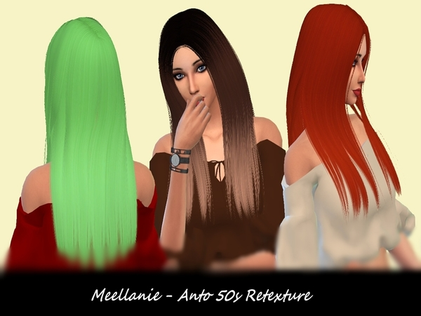 The Sims Resource: Anto`s 50s hair retextured by Meellanie for Sims 4