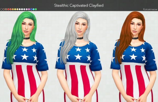 Kot Cat: Stealthic`s Captivated Hair Clayified for Sims 4