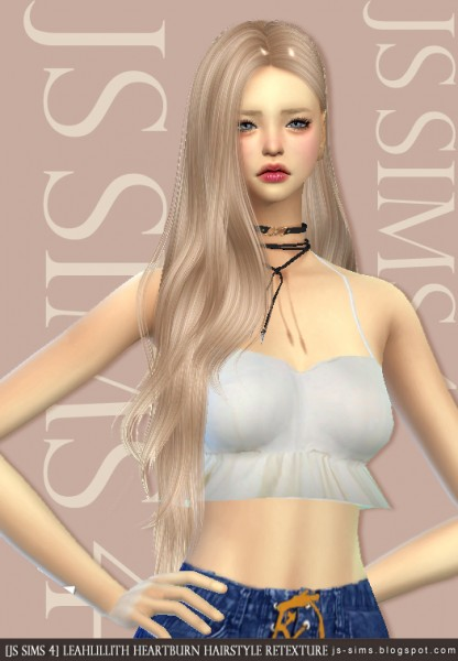 JS Sims 4: LeahLillith`s Heartburn Hair Retextured for Sims 4